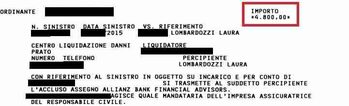 integrazione assegno ottenuto da laura grazie all'agenzia di infortunistica stradale a roma di incidente risarcito gratis
