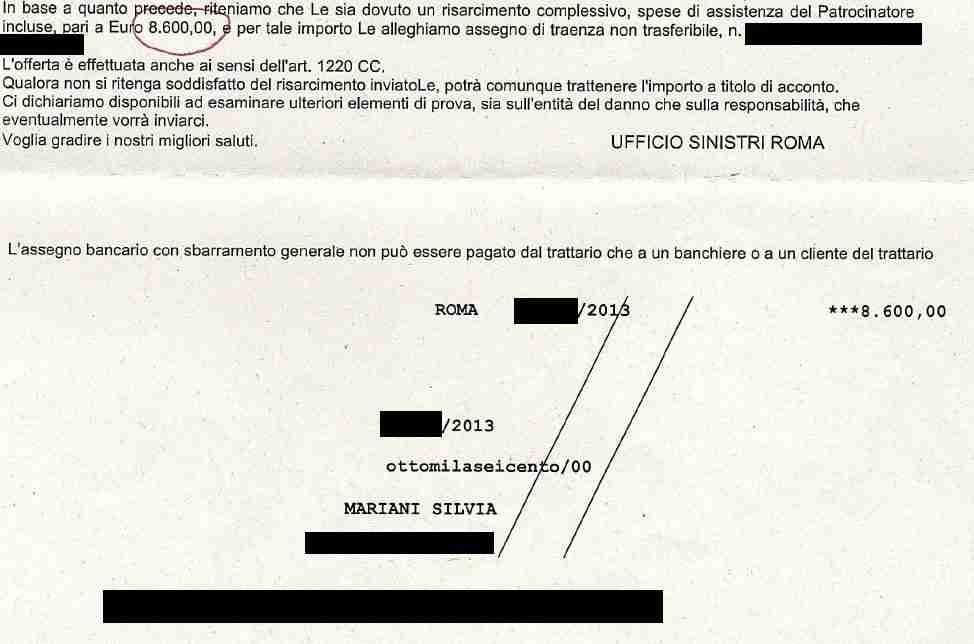 l'agenzia di infortunistica stradale a roma ha ottenuto assegno (primo)