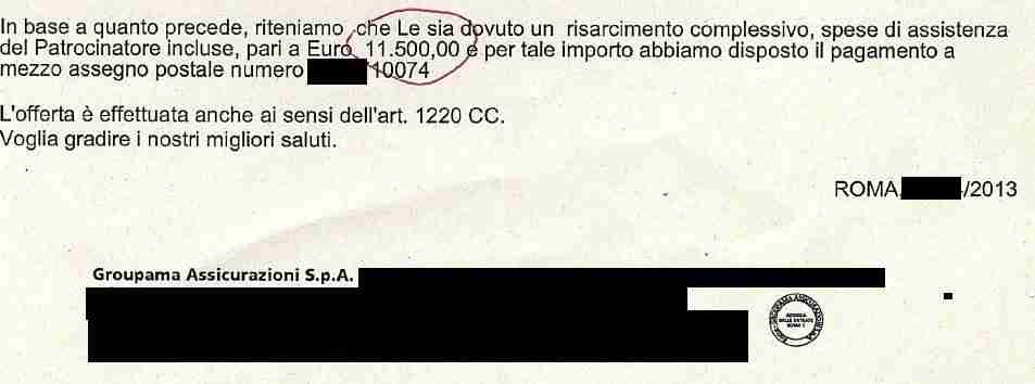 l'agenzia di infortunistica stradale a roma ha ottenuto assegno (secondo)
